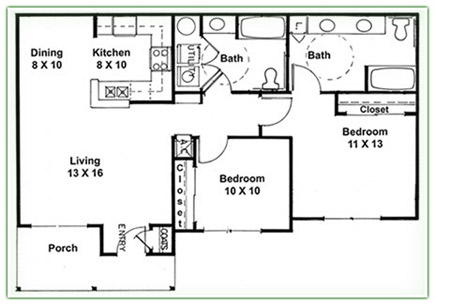 Duplex plans 2 bedroom 2 bath joy studio design gallery 2 bedroom 2 bath house plans